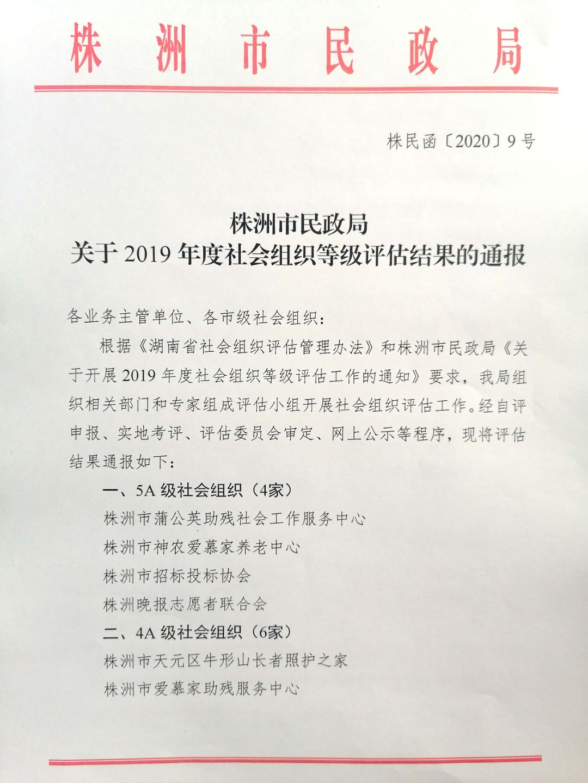 株洲市民政局关于2019年度社会组织等级评估结果的通报